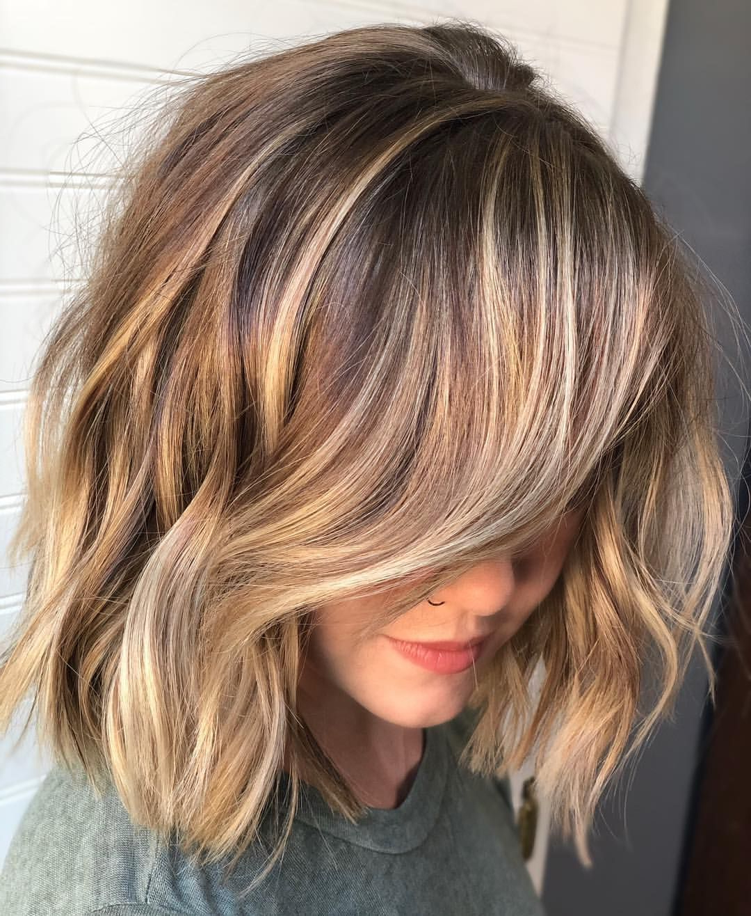 Pin On Hair And Makeup Intended For Caramel Blonde Balayage On Inverted Lob Hairstyles (View 17 of 20)