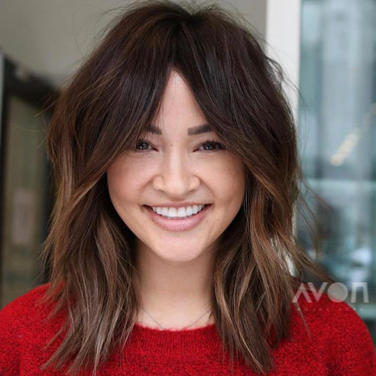 Pin On Hairstyles In Popular Full Fringe And Face Framing Layers Hairstyles (View 4 of 20)