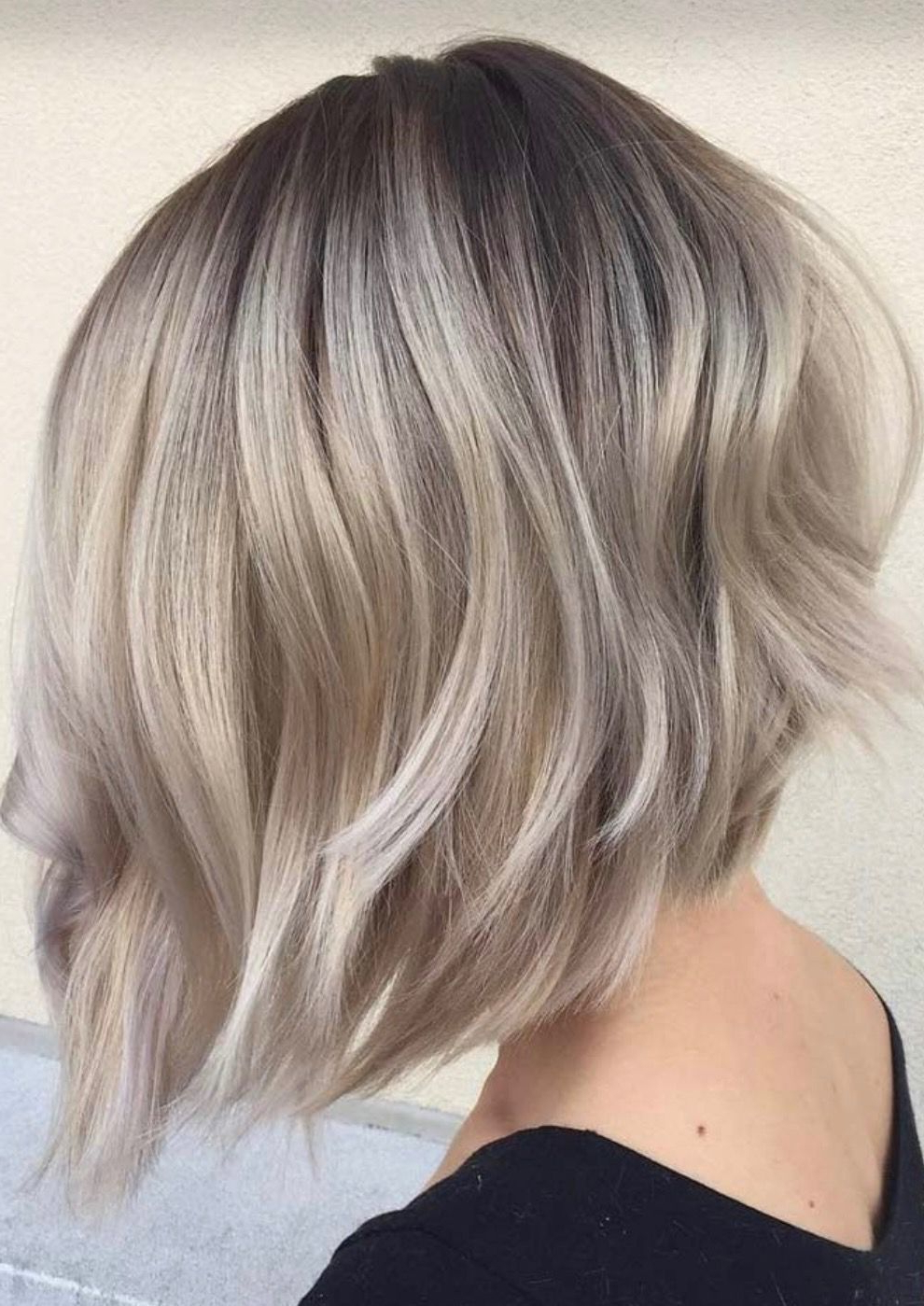 Pinlatasha Schilling On Hair Ideas   Thin Hair In Ash Blonde Balayage For Short Stacked Bob Hairstyles (View 6 of 20)