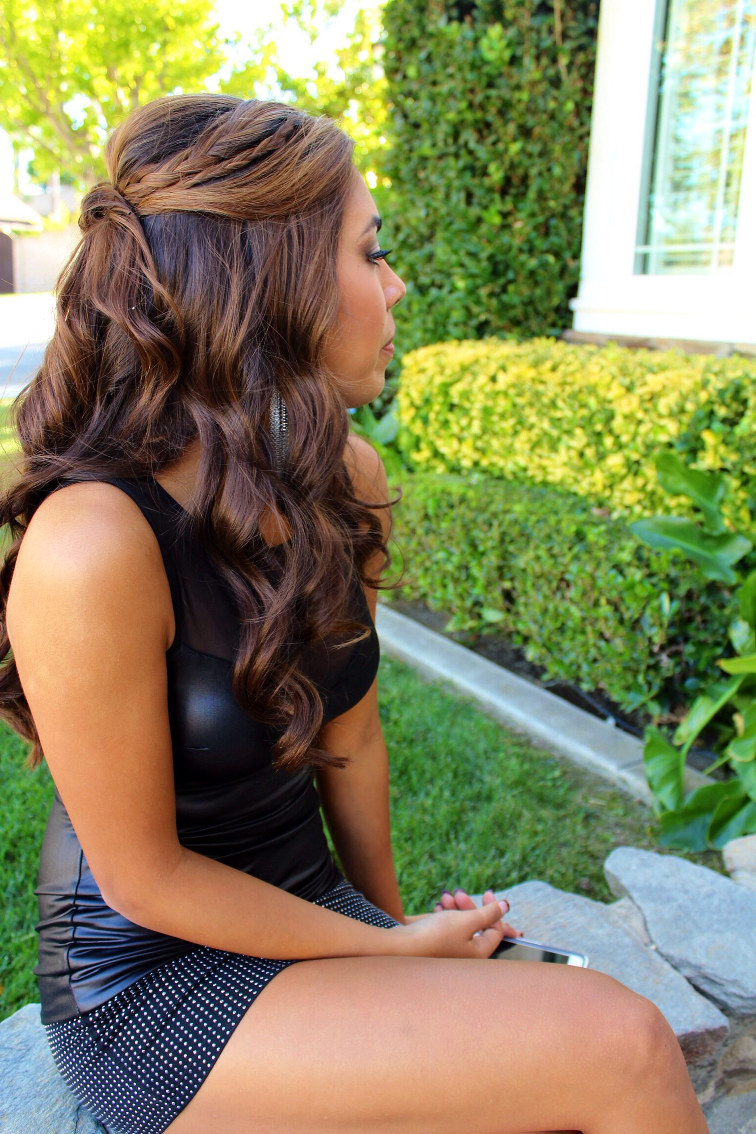 Popular Half Up Half Down Hairstyles With A Fringe In Half Up Half Down Updo (View 2 of 20)