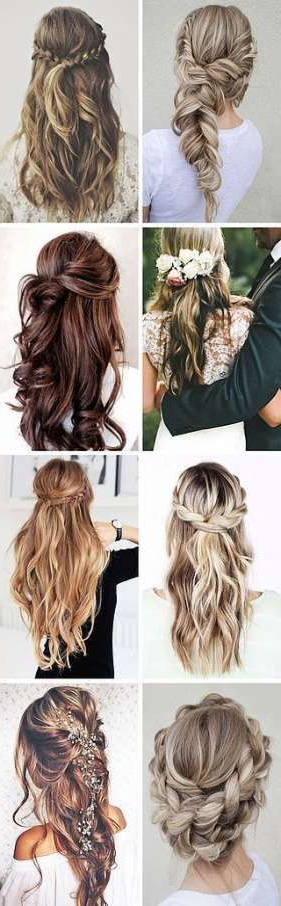 Popular Half Up Half Down Hairstyles With A Fringe Inside 32 Trendy Wedding Hairstyles Half Up Half Down With Fringe (View 18 of 20)