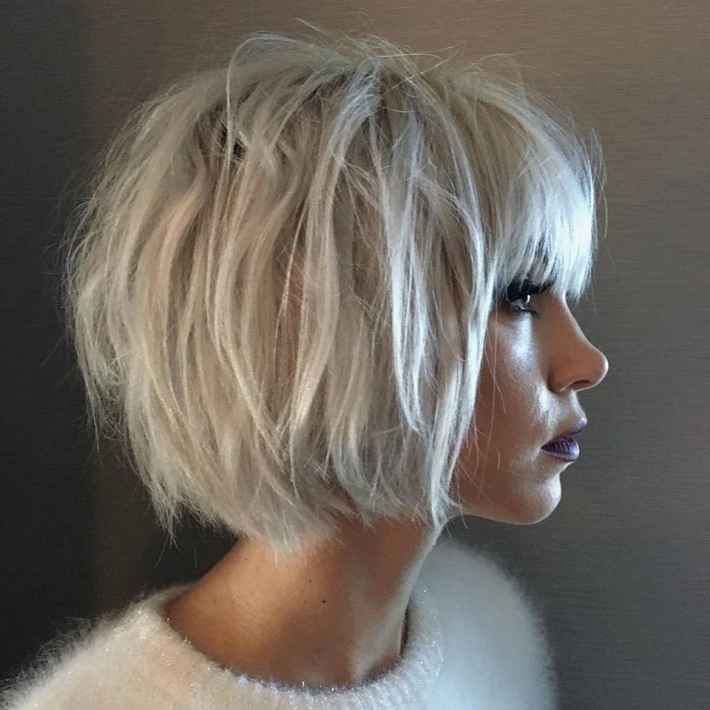 Recent Platinum Blonde Pixie Hairstyles With Long Bangs In Short, Thick, Bob Style, Platinum Hair With Blunt Bangs (View 16 of 20)