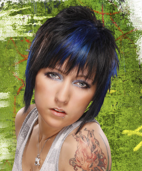 Recent Short Hairstyles With Blue Highlights And Undercut With Short Straight Black Ash Hairstyle With Blue Highlights (View 5 of 20)