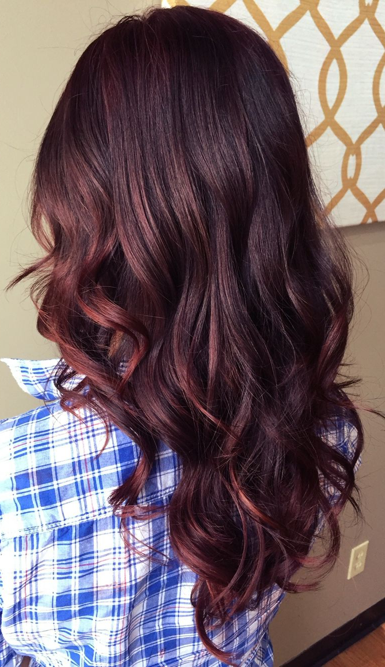 Red Balayage   Fall Hair Color For Brunettes, Brunette Regarding Dimensional Dark Roots To Red Ends Balayage Hairstyles (View 12 of 20)