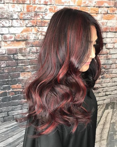 Red Highlights Ideas For Blonde, Brown And Black Hair In Natural Brown Hairstyles With Barely There Red Highlights (View 18 of 20)
