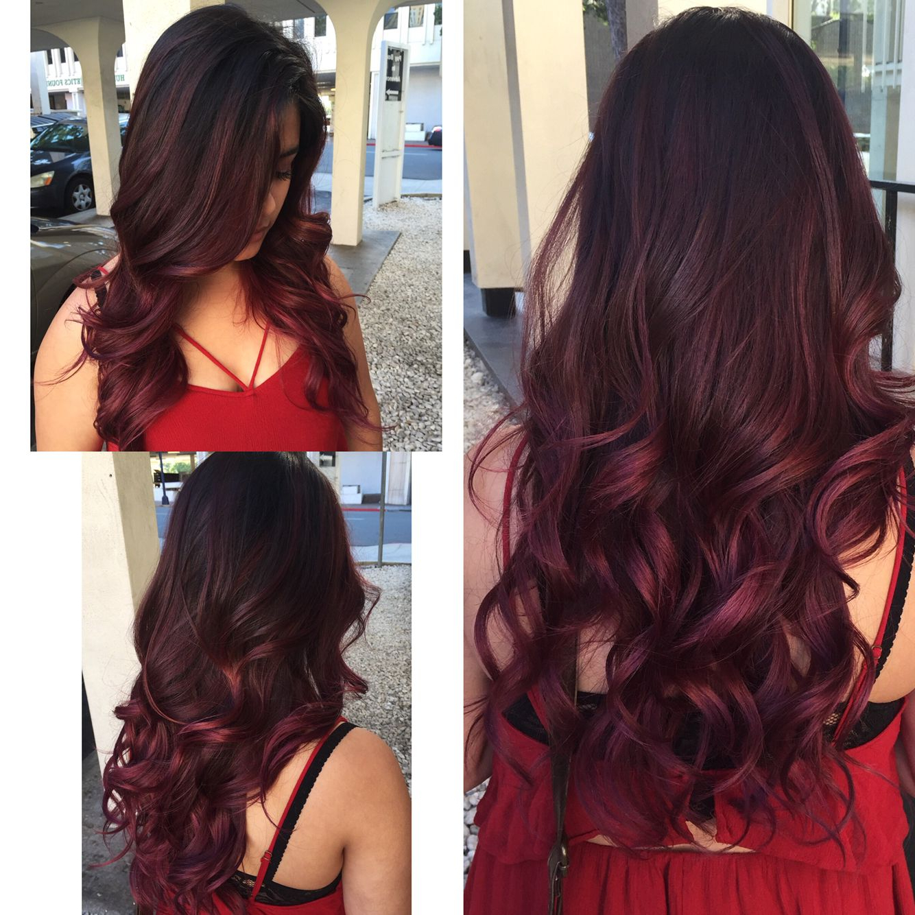 Red/violet Balayage! #hairbytaylorsteingold   Balayage With Bright Red Balayage On Short Hairstyles (View 16 of 20)