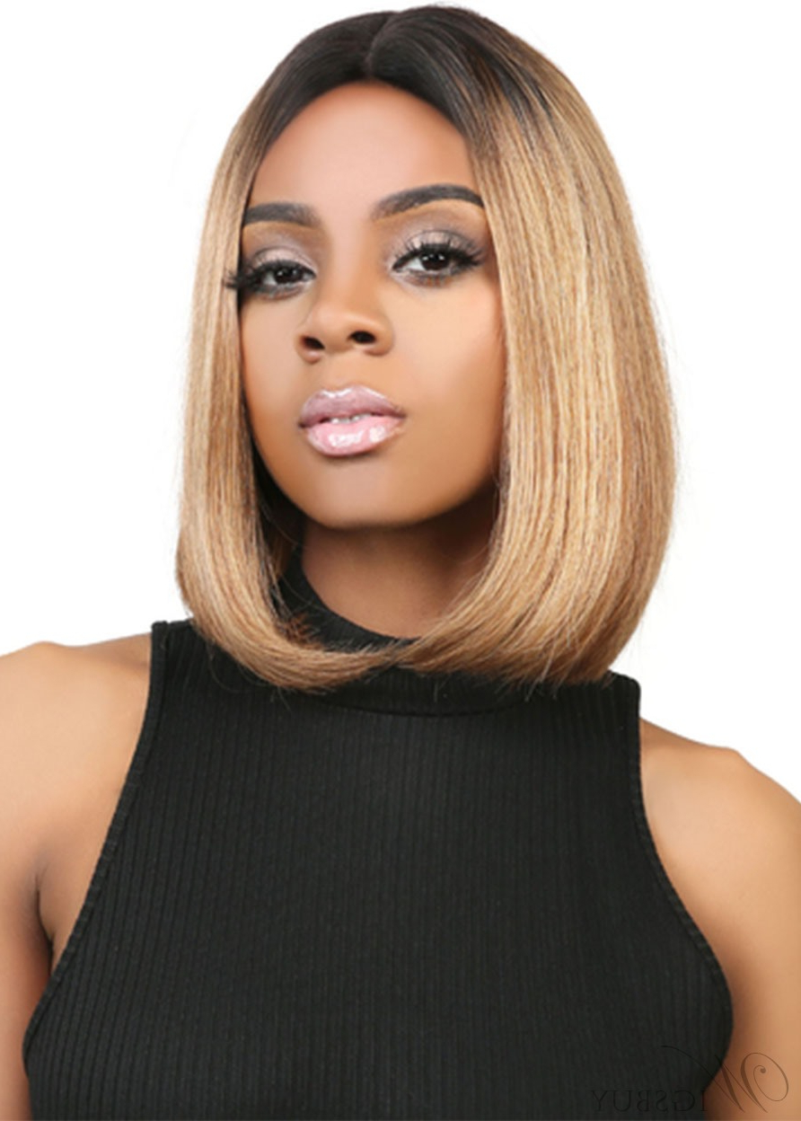Short Bob Hairstyles Women's Middle Part Straight Human With Regard To Well Known Middle Part Hairstyles (View 11 of 20)
