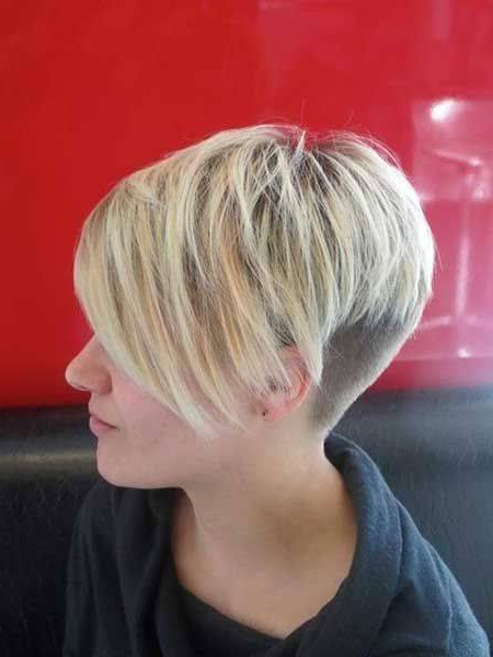 Short, Pixie, Blonde Haircut With Shaved Back And Side Pertaining To Most Recent Edgy Undercut Pixie Hairstyles With Side Fringe (View 10 of 20)