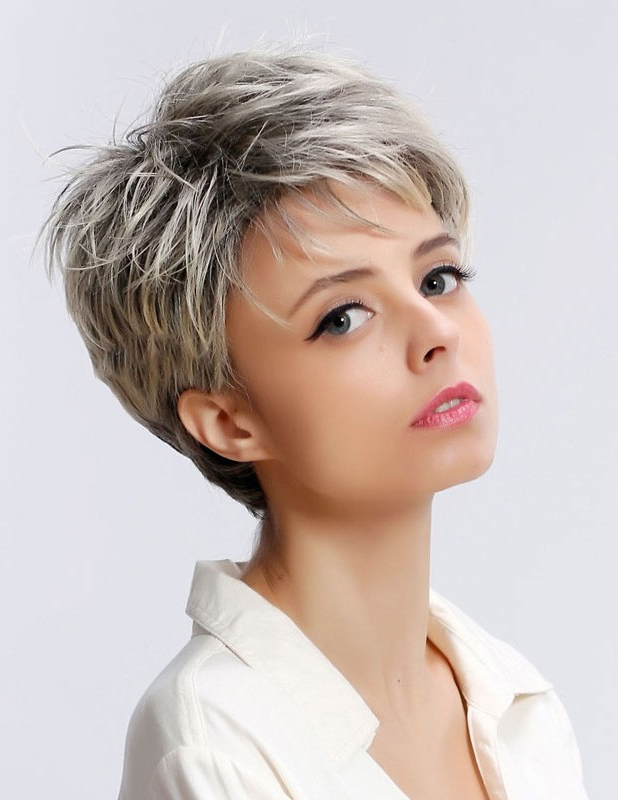 Short Straight Ladies Grey Hair Wig With Pixie Cut Throughout Most Recently Released Gray Short Pixie Cuts (View 8 of 20)