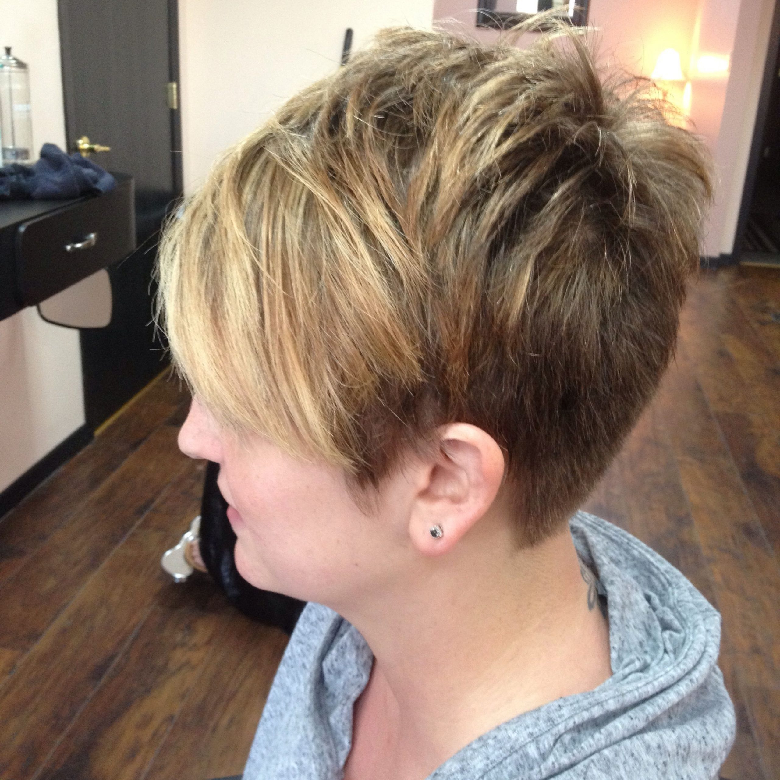 Side View Of Razored, Textured Pixie With Buttery Blonde With Regard To Pixie Hairstyles With Red And Blonde Balayage (View 14 of 20)