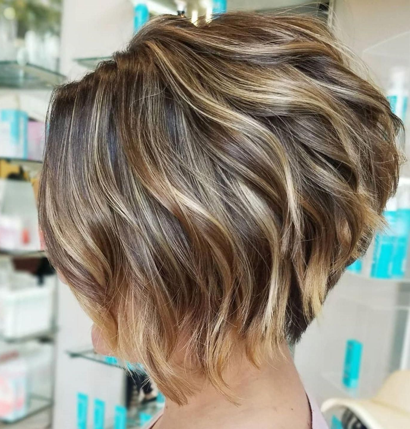 Stacked Wavy Bronde Balayage Bob #shortbobhairstyles For White Blonde Curly Layered Bob Hairstyles (View 2 of 20)