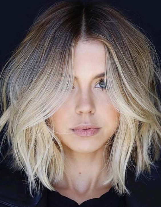 Stunning Long Bob Haircut With Layers For Trendy Lob Hairstyles With A Face Framing Fringe (View 17 of 20)