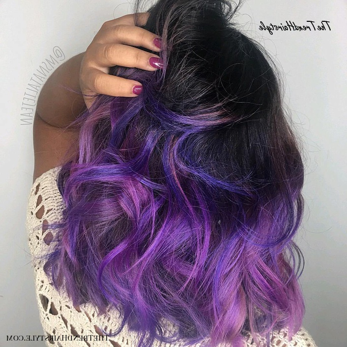 Violet Lob With Tousled Waves – 20 Purple Balayage Ideas Inside Lavender Balayage For Short A Line Haircuts (View 18 of 20)