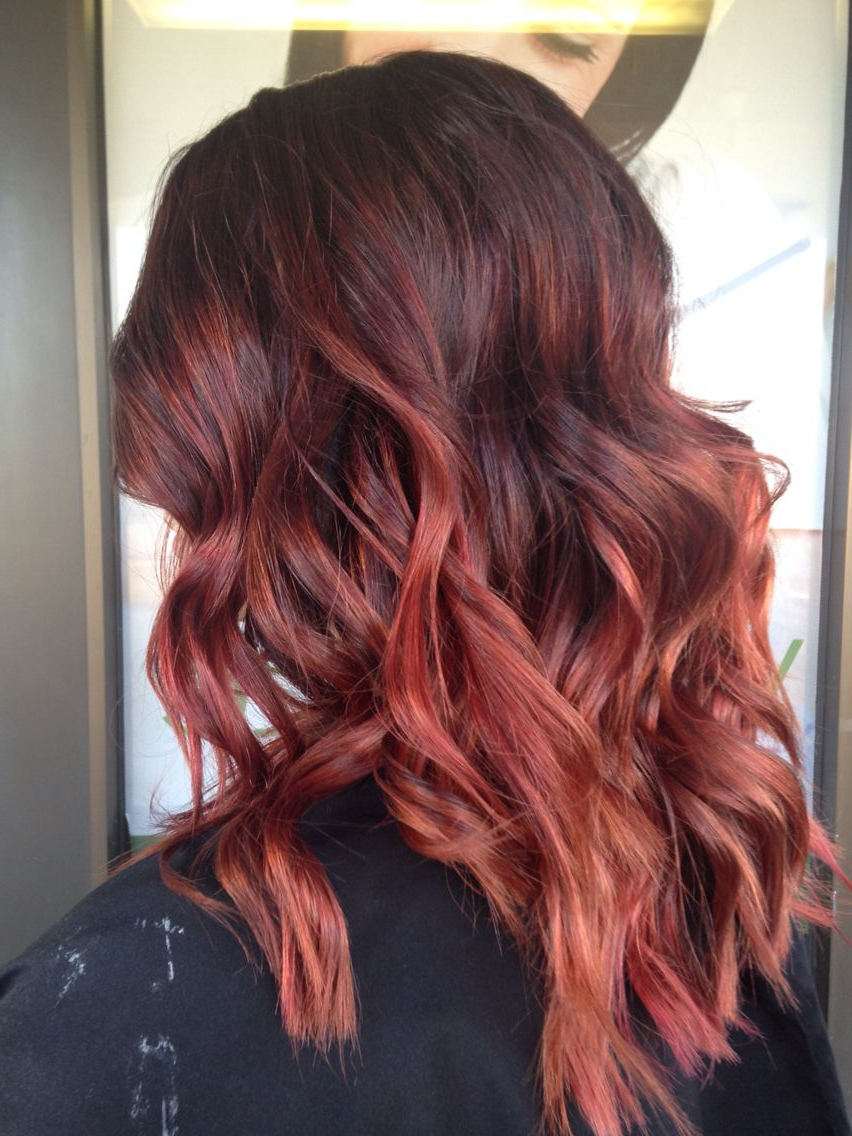 Featured Photo of Bright Red Balayage On Short Hairstyles