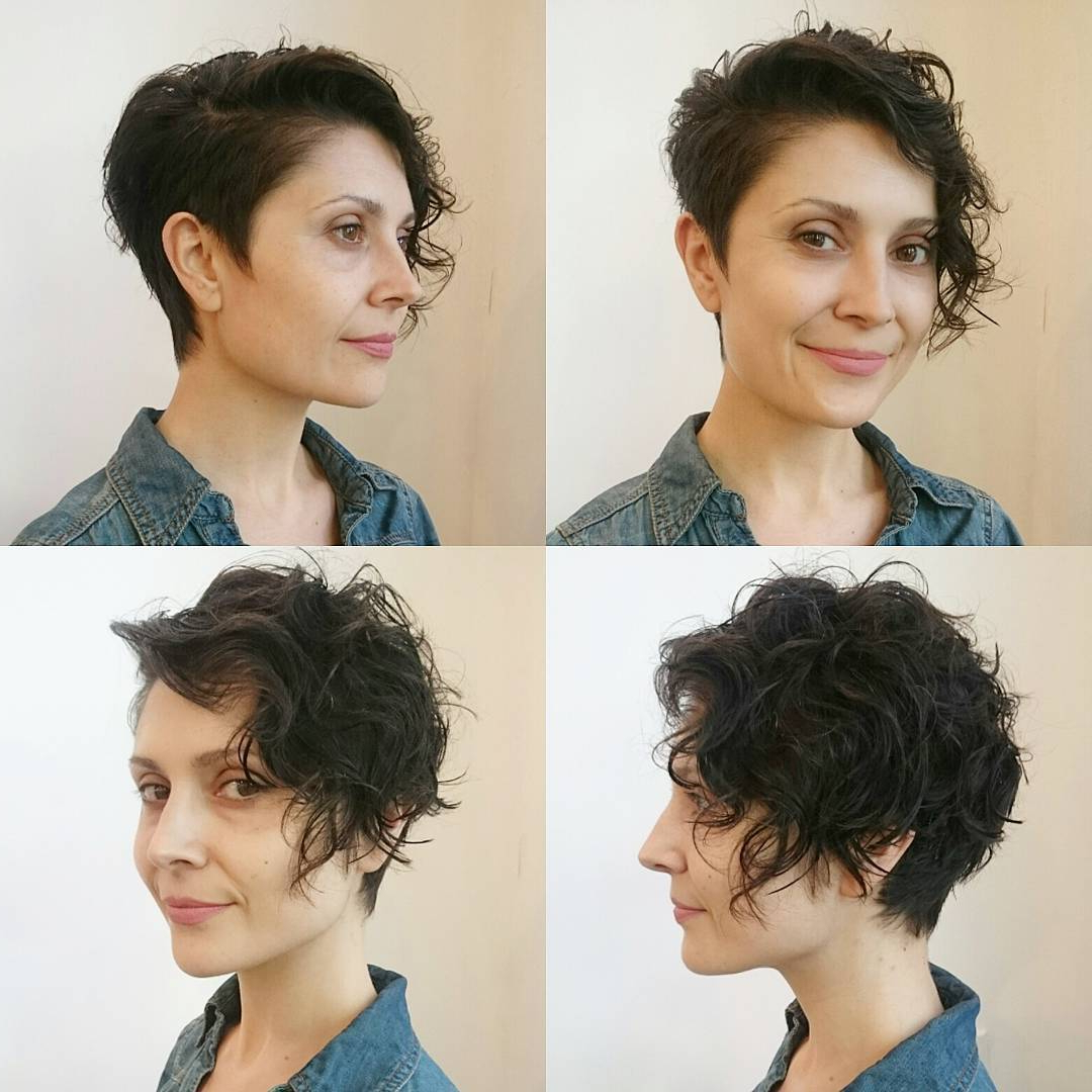 Wavy Brunette Asymmetrical Pixie Cut – The Latest Inside Well Known Pixie Undercuts For Curly Hair (View 12 of 20)