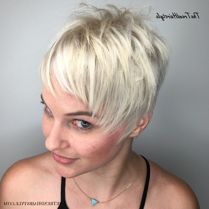 Well Liked Asymmetrical Pixie Hairstyles With Pops Of Color With Regard To Edgy Pixie With Spiky Layers – 40 Bold And Gorgeous (View 15 of 20)