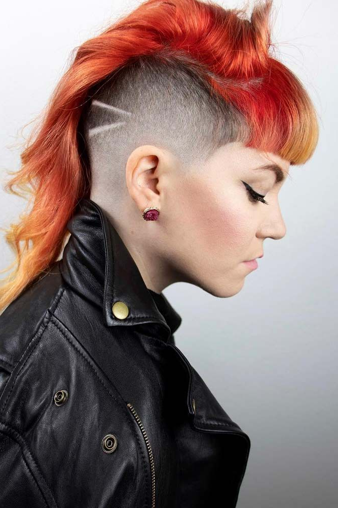 Well Liked Coral Mohawk Hairstyles With Undercut Design Regarding Half Shaved Long Mohawk Bangs #halfshavedhead #hairstyles (View 13 of 20)