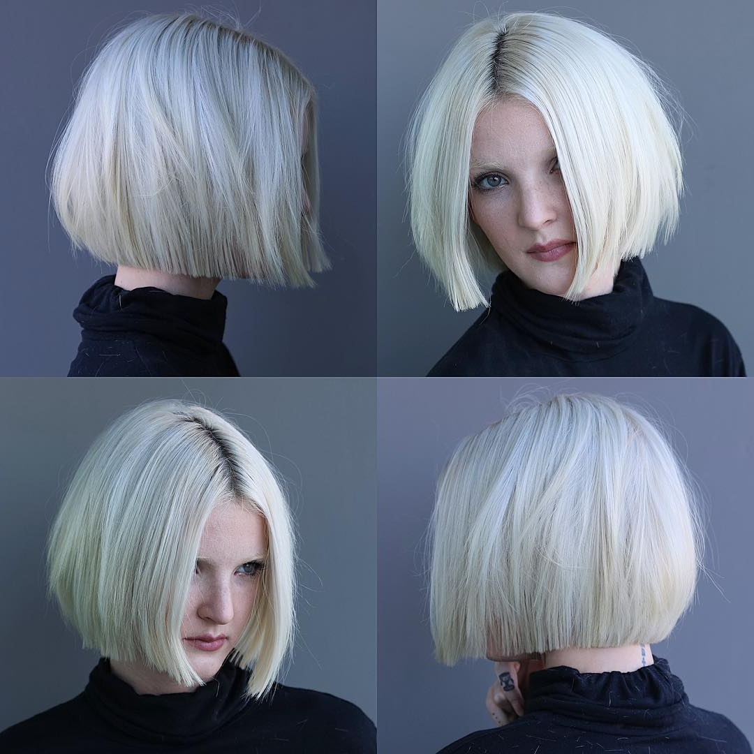 Widely Used Chin Length Bangs And Face Framing Layers Hairstyles In Platinum Textured Bob With Straight Lined Edges – The (View 14 of 20)