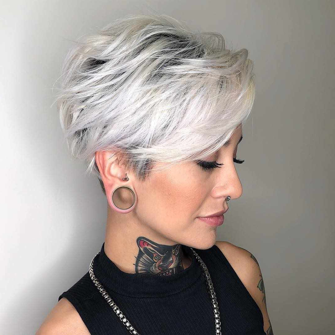 Widely Used Undercut Pixie Hairstyles With Hair Tattoo With Regard To 10 Colorful & Stylish Easy Pixie Haircut Ideas – Short (View 8 of 20)
