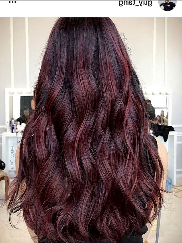 Wine Balayage Hair Reference And Color   Hair Color For In Dimensional Dark Roots To Red Ends Balayage Hairstyles (View 8 of 20)