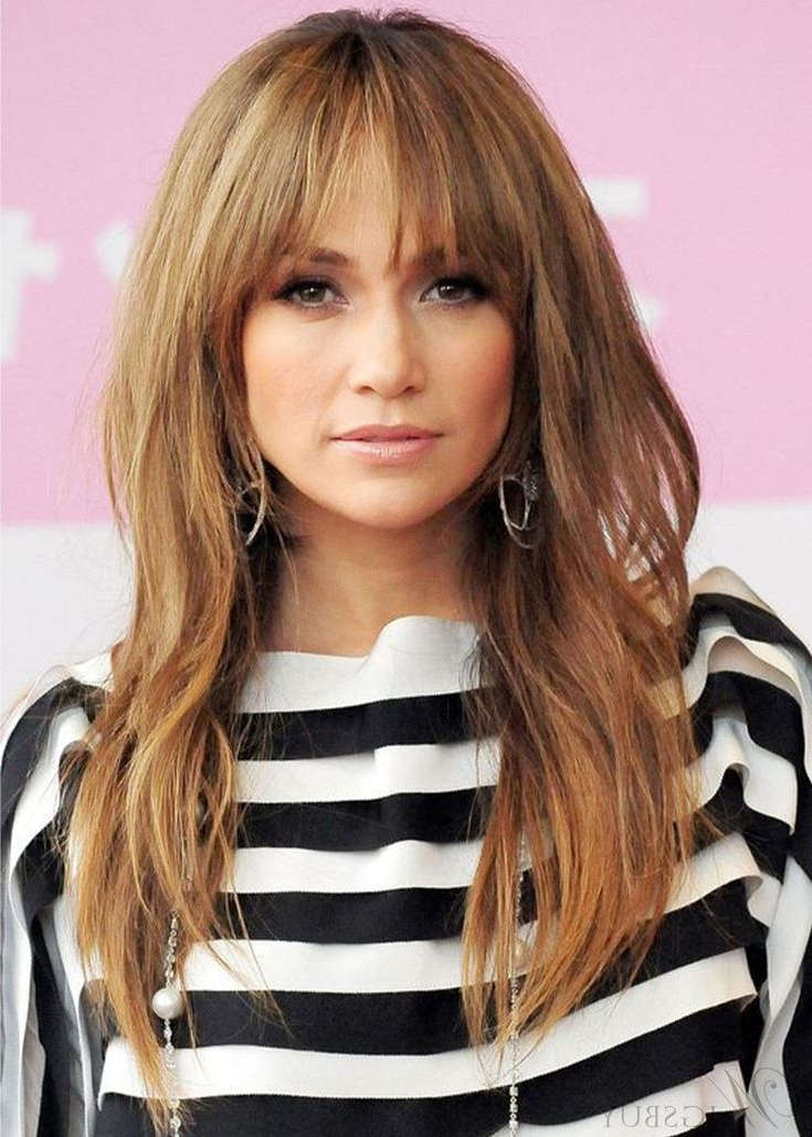 Women's Middle Part Long Layered Hairstyles Wavy Synthetic Intended For Preferred Full Fringe And Face Framing Layers Hairstyles (View 3 of 20)