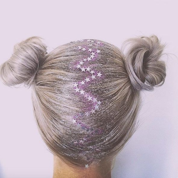 Zigzag Parting Buns With Star Glitter Rootstasteful Inside Most Current Rave Buns Hairstyles (View 8 of 20)