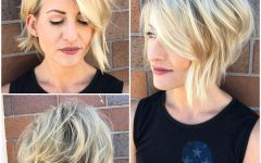 Wavy Asymmetric Bob Hairstyles with Short Hair at One Side