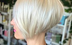 Stacked Sleek White Blonde Bob Haircuts