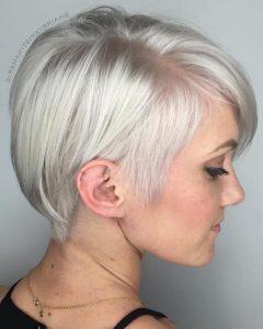 Sleek Metallic-White Pixie Bob Haircuts
