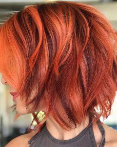 Burgundy and Tangerine Piecey Bob Hairstyles