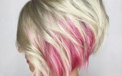Extreme Angled Bob Haircuts with Pink Peek-a-boos