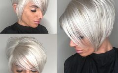 High-shine Sleek Silver Pixie Bob Haircuts