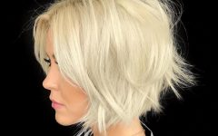 Frizzy Razored White Blonde Bob Haircuts