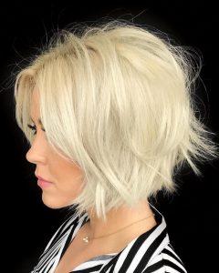 Frizzy Razored White Blonde Bob Haircuts