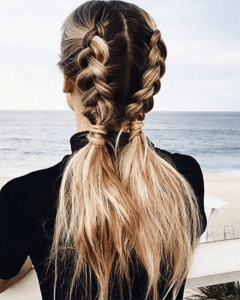 Pigtails Braids With Rings For Thin Hair