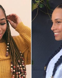 Chunky Black Ghana Braids Ponytail Hairstyles