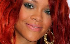 Rihanna Side Swept Big Curly Bob Hairstyles