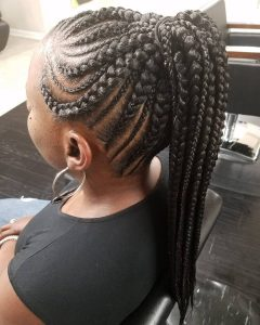 Metallic Side Cornrows Braided Hairstyles