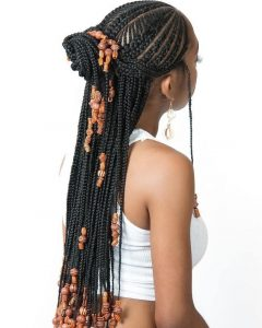 Geometric Tribal Fulani Pattern Braids With Curly Wisps