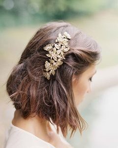 Pulled Back Bridal Hairstyles For Short Hair