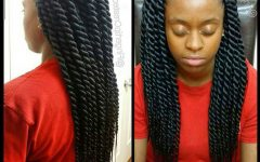 Black Layered Senegalese Twists Pony Hairstyles