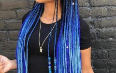 Blue and Black Cornrows Braid Hairstyles