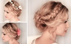 Braided Updo Hairstyle with Curls for Short Hair