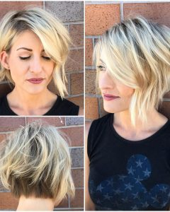Short Messy Asymmetrical Bob Haircuts