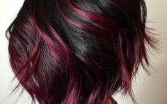 Stacked Black Bobhairstyles with Cherry Balayage