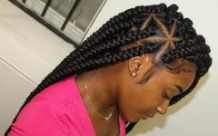 Angled Cornrows Hairstyles with Braided Parts