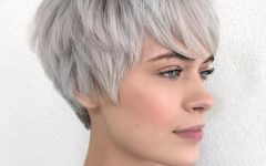 Gray Pixie Haircuts with Messy Crown