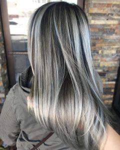 Dark Brown Hair Hairstyles With Silver Blonde Highlights