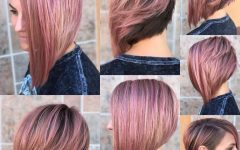 Pink Asymmetrical A-line Bob Hairstyles