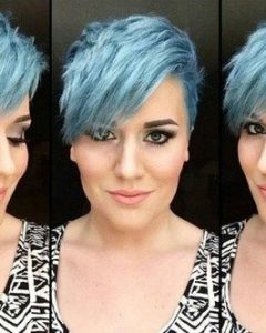 Funky Blue Pixie with Layered Bangs